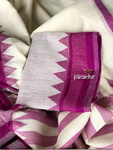 Pure Khadi  Handloom - Off White Purple Half Half