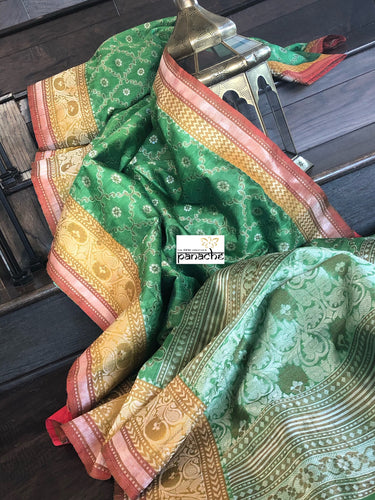 Tussar Silk Banarasi - Green Yellow Maroon