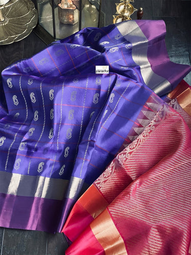 Silk Kanjivaram - Purplish Blue Golden Zari