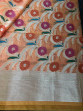 Kora Cotton Silk Saree - Orange Floral 2