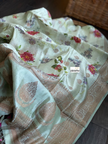 Chiniya Silk Banarasi Floral - Light Pista Green Golden Zari