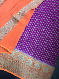 Khaddi Georgette Banarasi - Magenta Orange