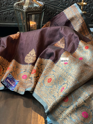 Tussar Silk Banarasi - Dark Chocolate Grey Antique Golden Zari