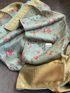 Banarasi Organza Floral - Light Teal Green Golden Zari Checks