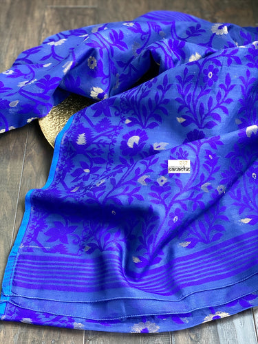Soft Jamdaani  - Blue Grey Purple