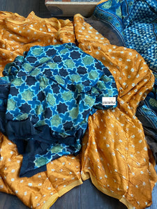 Silk Bandhani Ajrakh - Orange Blue