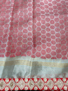 Designer Pure Tissue Silk - Silver Red Lotus
