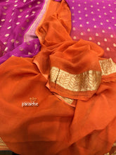 Khaddi Georgette Banarasi - Orange Purple