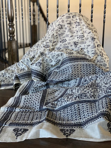 Pure Tussar Silk Kantha Stitch -  Off White Black