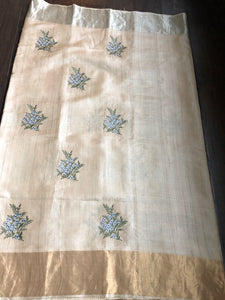 Tussar Silk - Tussar Color Embroidered