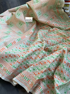 Pure Gachi Tussar Silk Kantha Stitch -  Beige Orange Green Worli