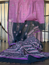 Cotton Silk Kantha Stitch -  Mauve Purple Black Half Half