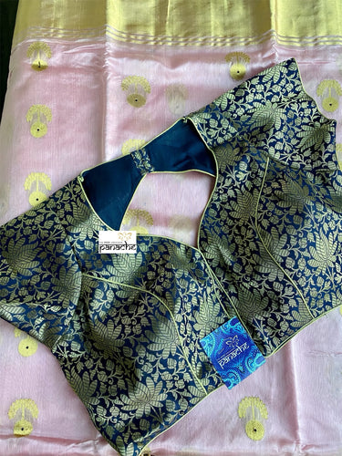 Designer Blouse - Dark Blue Brocade