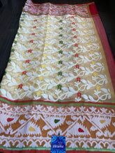 Soft Jamdaani  - Cream Yellow Red Half Half