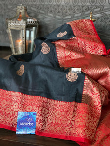 Tussar Silk Banarasi - Black Red Antique Golden Zari