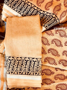 Bagh Print Saree - Light Apricot Silver Zari