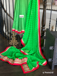 Designer Chiffon - Green Leheriya Red
