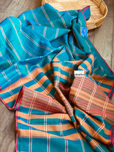 Narayan Peth Cotton Saree - Teal Blue Rust
