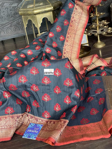 Pure Tassur Silk Banarasi - Black Red Khadwa Woven