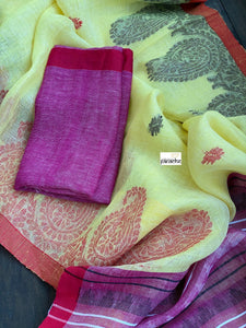 Handloom Banarasi Linen - Light Yellow Resham woven