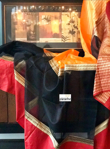 Organza Silk Banarsi - Black Orange Red Antique Zari