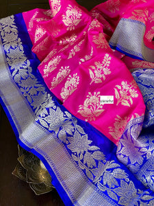 Soft Silk Banarasi - Royal Blue Magenta Pink