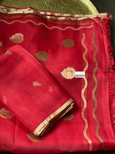 Organza Silk Banarsi - Red Golden Zari