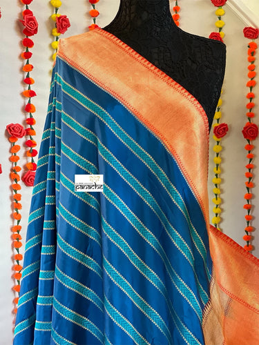 Pure Silk Katan Banarasi - Blue Firozi Orange