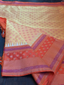 Silk Banarasi - Yellow Orange Dual Shaded