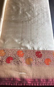 Katan Silk Banarasi - Cream Maroon Striped