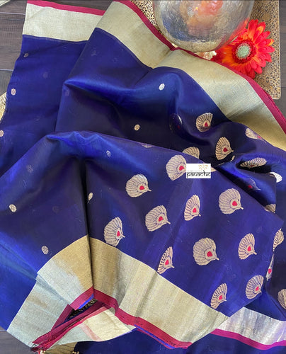 Chanderi Silk Cotton - Purplish Blue Red
