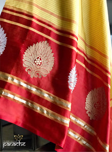 Silk Banarasi - Yellow Red Big Buta