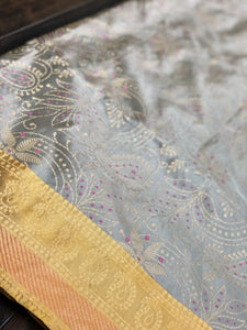 Katan Silk Banarasi - Grey Ochre Yellow