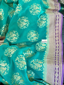 Khaddi Georgette Banarasi - Sea Green Firozi Purple