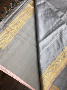 Tanchoi Silk Banarasi - Grey Antique Golden