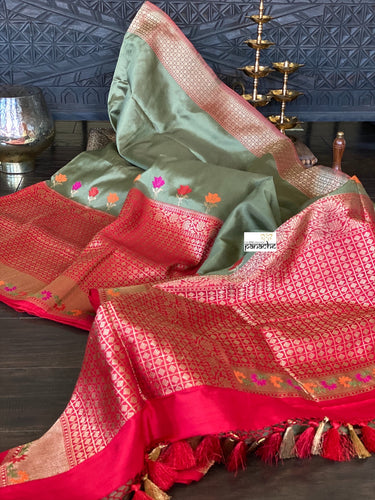 Pure Katan Silk Banarasi - GreenGrey Red Kadwa woven