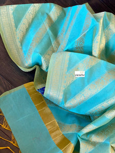 Silk Cotton Dupatta - Sea Green Golden Zari