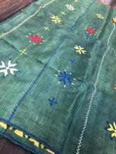 Pure Tussar Silk - Bottle Green Yellow Printed Kantha Stitch