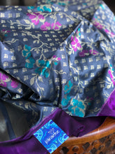 Pure Silk Banarasi - Grey Black Purple
