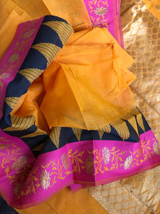 Cotton Silk - Orange Golden Zari