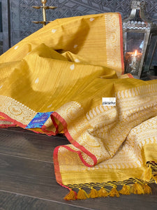 Tussar Silk Banarasi - Ochre Yellow Antique Golden Zari