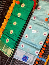 Pure Chanderi Silk - Light Aqua Blue Eknaliya Woven Meenakari