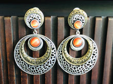 Jewelry Earring - Orange Stone Kaanbala Dual Tone