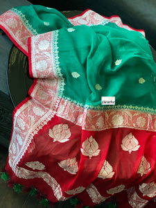 Chiffon Georgette Silk Banarasi - Teal Green Red Silver Zari