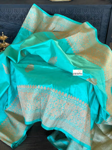Katan Silk Banarasi - Mint Blue Antique Zari