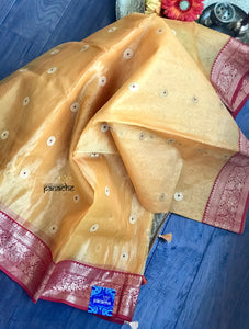 Tissue Chanderi Silk - Golden Yellow Meenakari