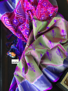 Patan Silk Patola - Green Magenta Dual Shaded