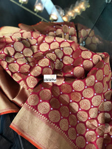 Pure Katan Silk Banarasi - Wine Red Antique Golden Zari
