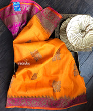 Tussar Silk Banarsi - Orange Magenta