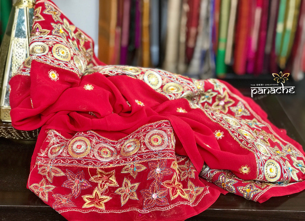 Designer Saree - Red Hand Embroidered